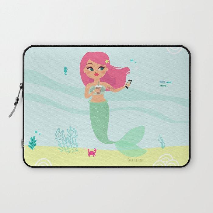 Pink haired Mermaid taking a selfie Laptop Sleeve