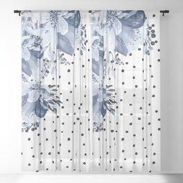 Boho Blue Flowers and Polka Dots Sheer Curtain