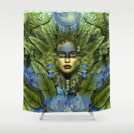 """Tropical green and indigo jungle Woman"" Shower Curtain"