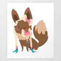 sylveon Art Prints featuring Sylveon by Dani Tea