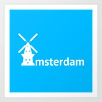 amsterdam Art Prints featuring Amsterdam by Flat Design