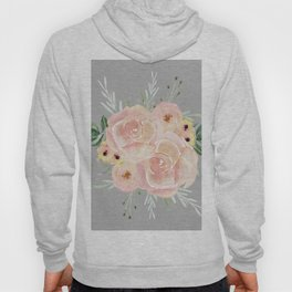 Wild Roses on Mid Gray Hoody