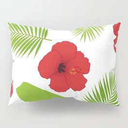 Red hibiscus and palm leaves seamless pattern. Pillow Sham