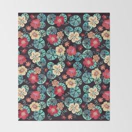Watercolor Nasturtiums. Dark Floral Throw Blanket