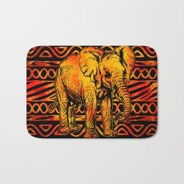 Textured Ethnic and Animal Print and Elephant Bath Mat