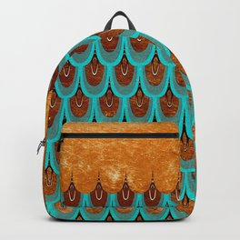 Copper Metal Foil and Aqua Mermaid Scales- Abstract glitter pattern Backpack
