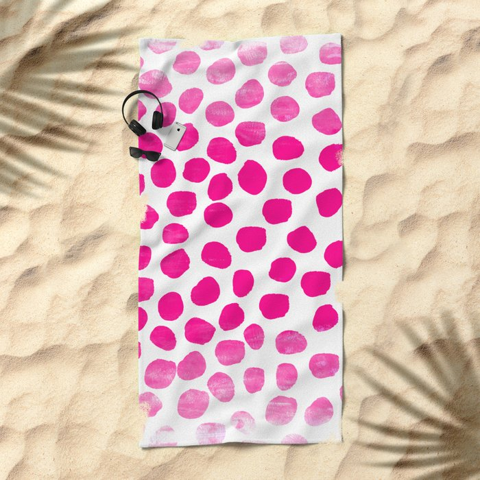 Ombre dots cute hot pink trendy must have gifts for college dorm room decor affordable painting Beach Towel