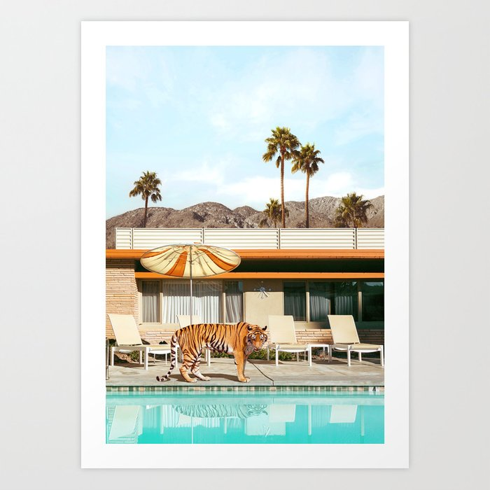 Pool Party Tiger Art Print