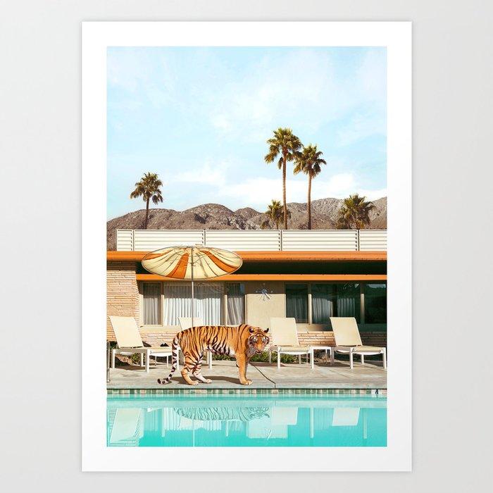Pool Party Tiger Art Print