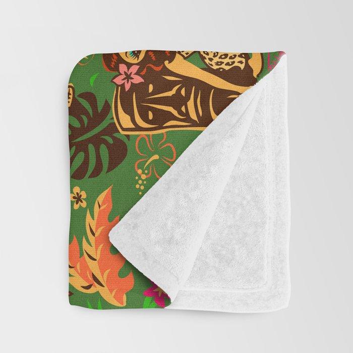 Tiki Temptress on Green Throw Blanket
