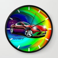 ferrari Wall Clocks featuring Ferrari by JT Digital Art