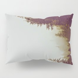 Olive Green Sepia Misty Pine Forest Landscape Photography Parallax Trees Pillow Sham
