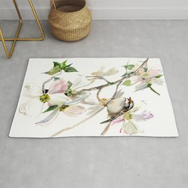 Dogwood Flowers and White Throated Sparrow Rug