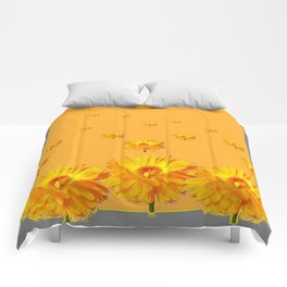FLOATING GOLDEN FLOWERS  GREY COLLAGE Comforters
