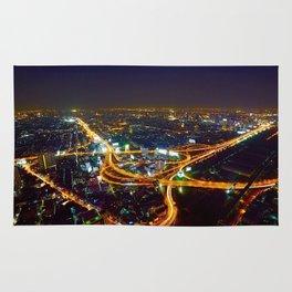 Bangkok Night Skyline Rug