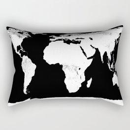 World Map Black & White Rectangular Pillow