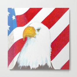 Eagle And Flag Metal Print