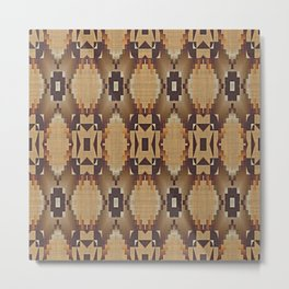 Khaki Tan Orange Dark Brown Native American Indian Mosaic Pattern Metal Print