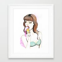 icecream Framed Art Prints featuring Icecream by Annaleigh Louise