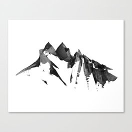 Mountain Painting | Landscape | Black and White Minimalism | By Magda Opoka Canvas Print