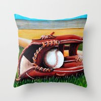 baseball Throw Pillows featuring Baseball by A Calcines