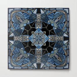 blue symmetric fantasy pattern IV Metal Print