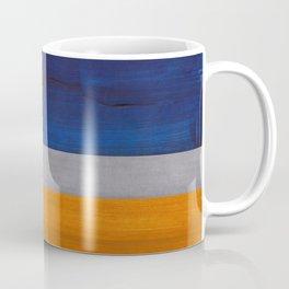 Minimalist Mid Century Rothko Color Field Navy Blue Yellow Ochre Grey Accent Square Colorblock Coffee Mug