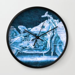 Harley 750cc XA Military Motorcycle BLUE Wall Clock