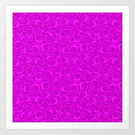 Neon floral pattern . Bright pink roses. Art Print