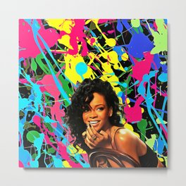 Rihanna - Celebrity Art Metal Print