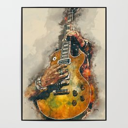 slash's electric guitar, guitar wall art, studio decor, music room decor, gift for guitarists Poster