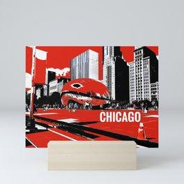 Chicago Bean Digital Painting on Photograph Mini Art Print