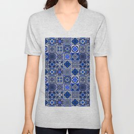 -A34- Blue Traditional Floral Moroccan Tiles. Unisex V-Neck