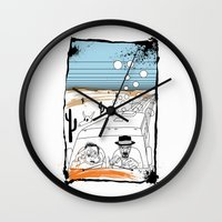 fear and loathing Wall Clocks featuring Fear and Loathing in Albuquerque II by Evan