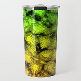 Lovely Leaves, in Green and Gold Travel Mug