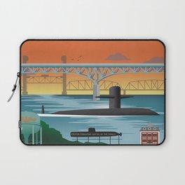 Groton, CT - Retro Submarine Travel Poster Laptop Sleeve