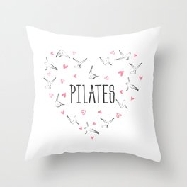 Pilates poses in shape of a heart Throw Pillow