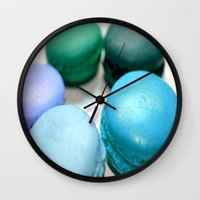 macaroons Wall Clocks featuring Macarons / Macaroons by WhimsyRomance&Fun