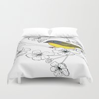 nashville Duvet Covers featuring Nashville Warbler by Art by Peleegirl