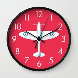 Spitfire WWII fighter aircraft - Crimson Wall Clock