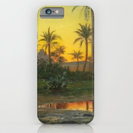 Egyptian Oasis, The Pyramids at Sunset landscape painting by Peder Mork Mønsted iPhone Case