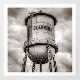 Bourbon Sepia Whiskey Water Tower Barrel and Cloudy Skies Art Print