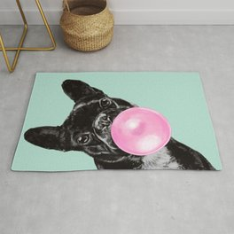 Bubble Gum Sneaky French Bulldog in Green Rug