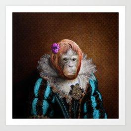 Portrait of Lady Oona Orangutan Art Print