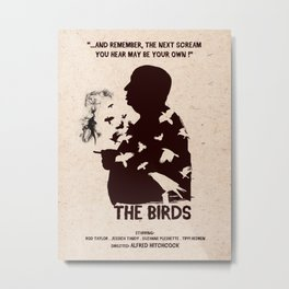 The Birds Hitchcock silhouette art Metal Print