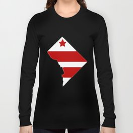 Washington DC District of Columbia Map with Flag Long Sleeve T-shirt