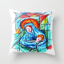 Maria e o menino Throw Pillow