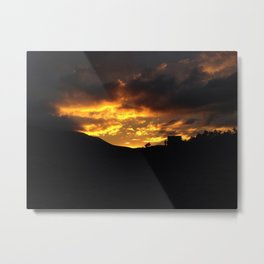 A sunset of silhouette of a Colorado cabin Metal Print