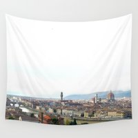 florence Wall Tapestries featuring Florence Panorama by Emma Dowling