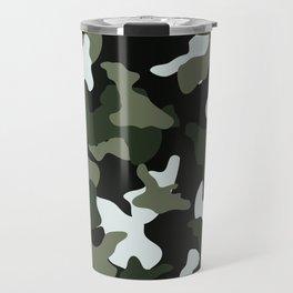 Green White camo camouflage army pattern Travel Mug